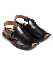Load image into Gallery viewer, black traditional Peshawari Chappal