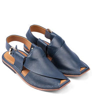 Load image into Gallery viewer, blue Peshawari Chappal for men