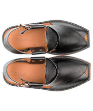 Load image into Gallery viewer, black leather Peshawari Chappal for men