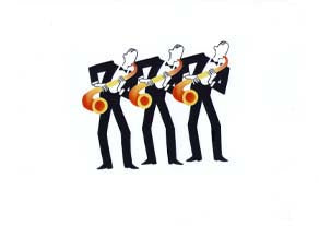 Jeeves and Wooster - Sax trio - GICLEE PRINT