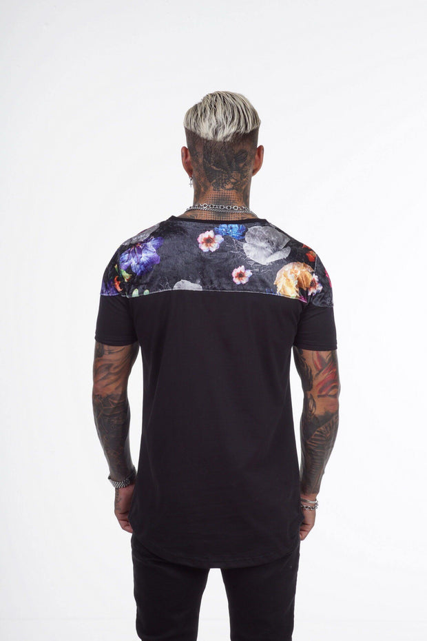Xzeno Black Flower T-Shirt - Mybrands Store