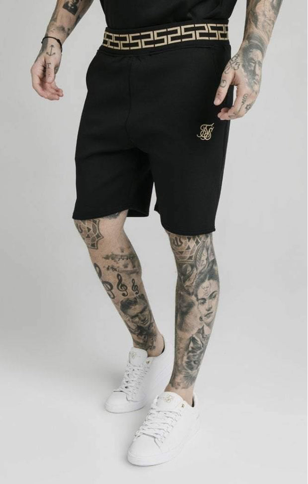 SikSilk Chain Rib Relaxed Shorts Black - Mybrands Store