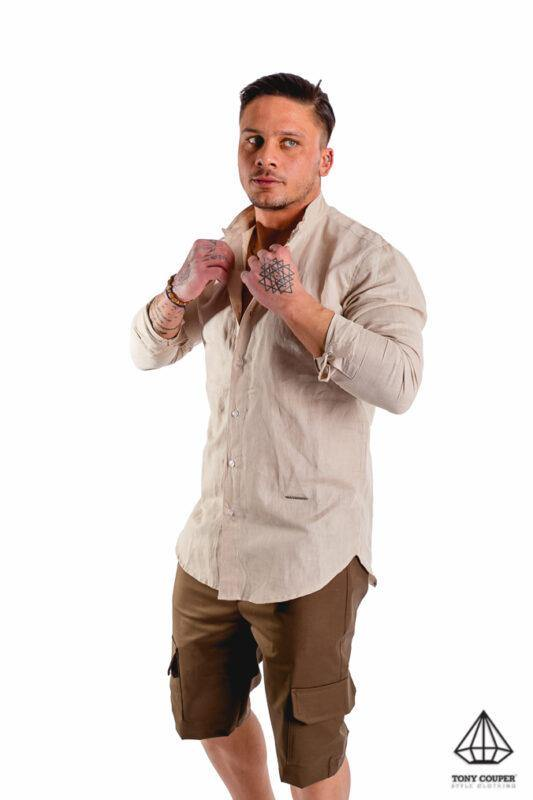 Tony Couper Beige Mao Shirt - Mybrands Store