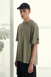 P/COC Cotton T-shirt with Embossed Logo Olive - Mybrands Store
