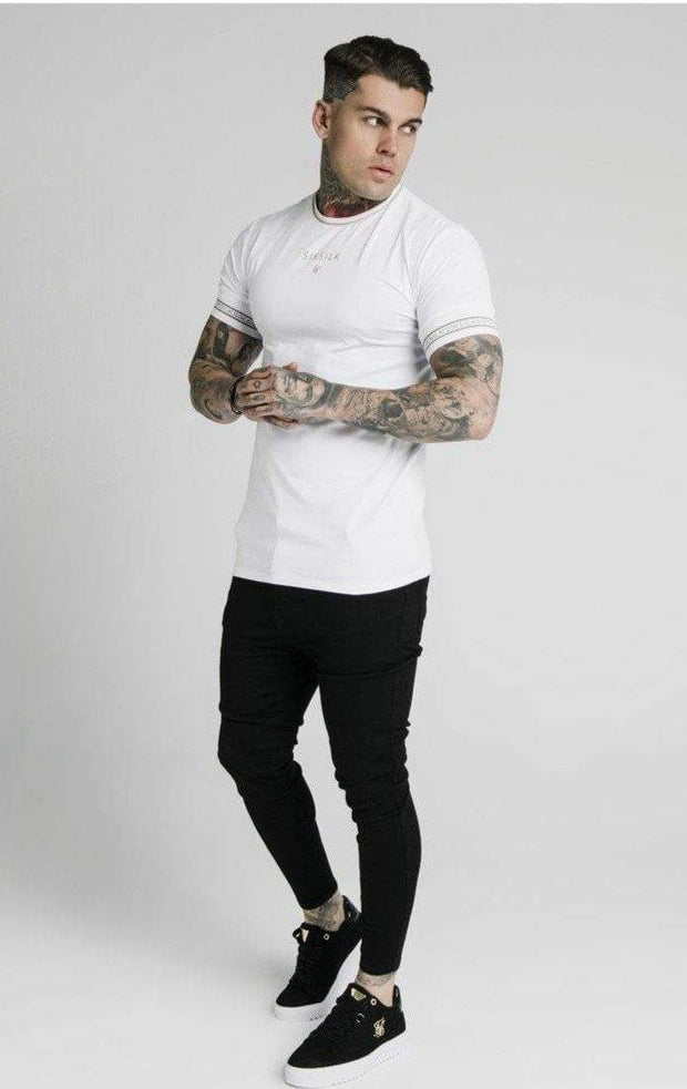 SikSilk Element Straight Hem Gym Tee – White & Gold - Mybrands Store
