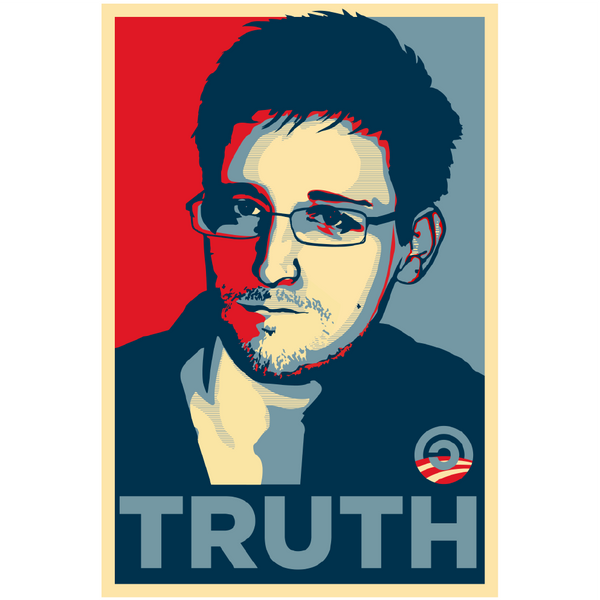 Edward Snowden TRUTH T-Shirt version of Shepard Fairey's Barack Obama HOPE shirt. 100% Cotton Screenprint.
