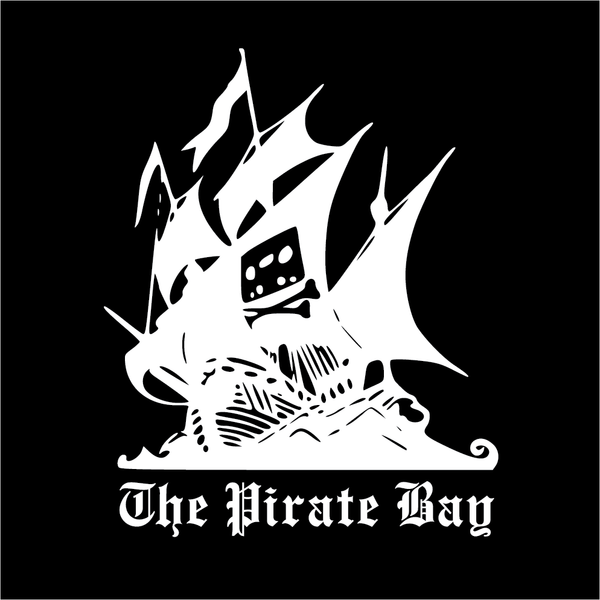 The Pirate Bay T-Shirt White on Black, 100% Cotton Screenprint