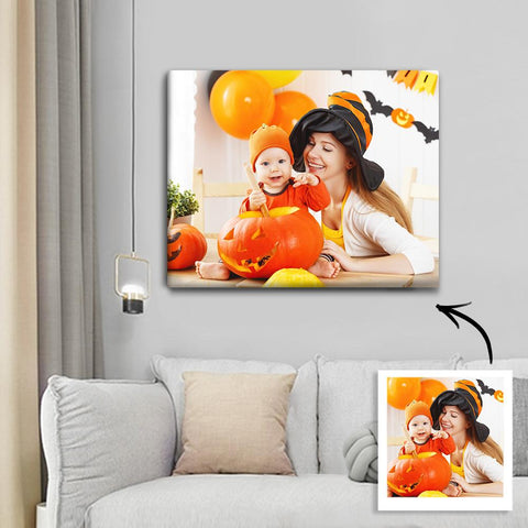 Halloween Custom Family Photo Wall Art Painting Canvas 30*40cm - Halloween Gift