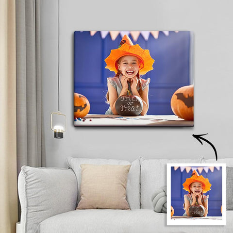 Halloween Custom Child Photo Wall Art Painting Canvas 30*40cm - Halloween Unique Gift