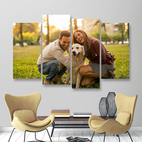Custom Photo Wall Decor 4 Pcs Canvas Print For Pet - 30*60cm x 2&30*80cm x 2