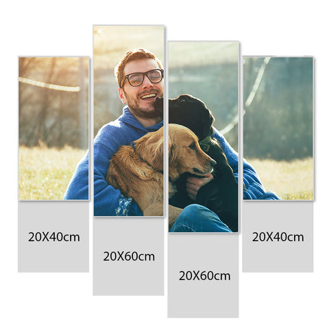 Custom Photo Wall Decor 4 Pcs Canvas Print - 20*40cm x 2 20*60cm x 2