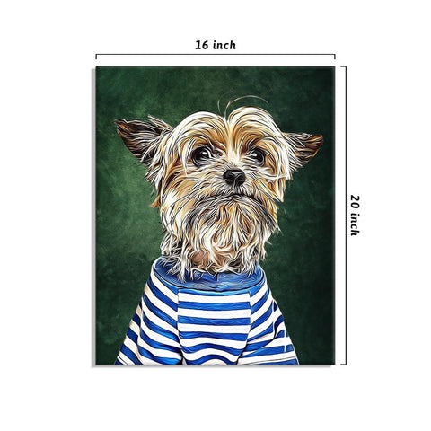 Personalized Dog Painting Wall Art 16*20in - Olive