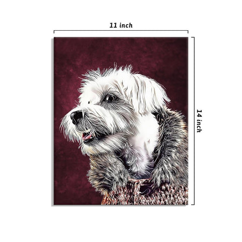 Personalized Pet Portraits with Frame 11*14in - Sangria