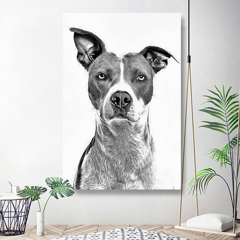 Custom Pet Art Pet Portrait Unique Wall Art 20*30in - White