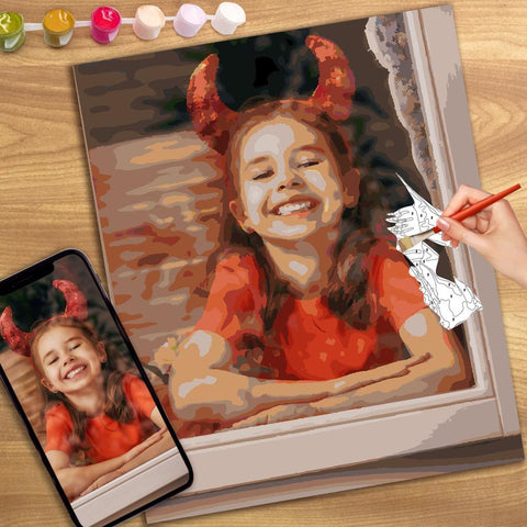 Halloween Custom Photo Paint By Number Kits Personalized Gift 24 Colors - 20*25cm