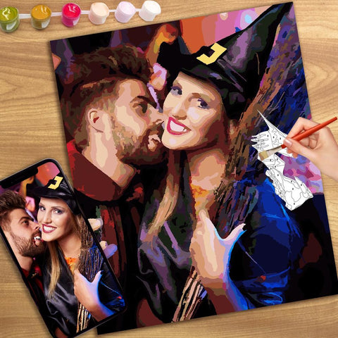 Halloween Custom Couple Photo Paint By Number Kits Personalized Gift 24 Colors