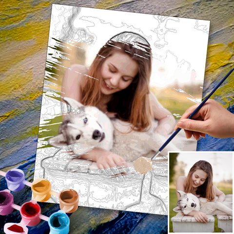 Custom Photo DIY Painting By Numbers For Lover 36 Colors - 40*50cm
