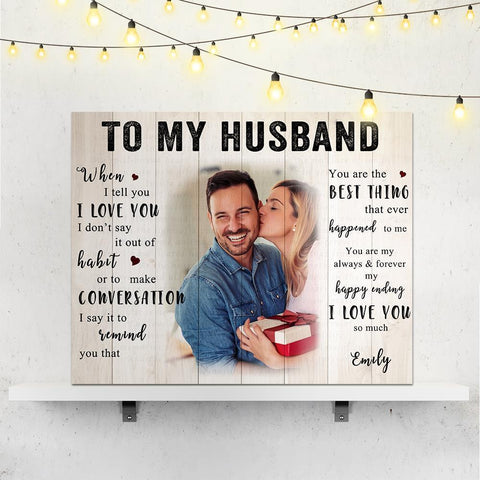Custom Love Photo Wall Decoration Painting Canvas With Text - To My Husband