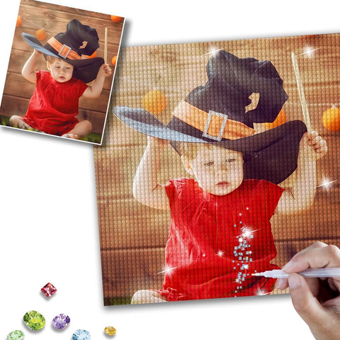 Halloween 5D Custom Lovely Child Photo Diamond Painting Kit Full Square Round Rhinestone