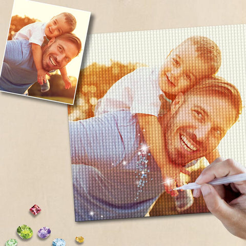 Custom Diamond Painting Kit Full Square Round Rhinestone Unique Gifts 30*30cm - Daddy