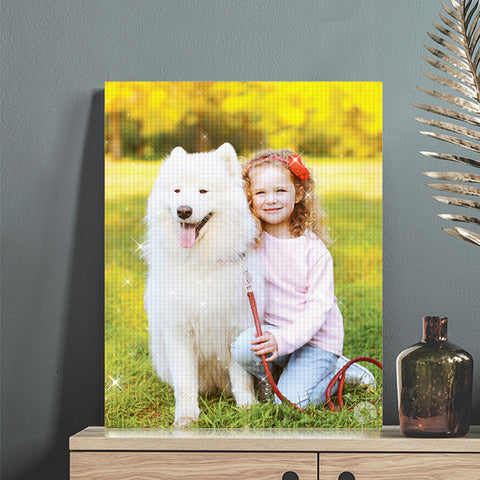 Personalized Diamond Painting Kit Full Square Round Rhinestone Unique Gifts Custom Pet Photo