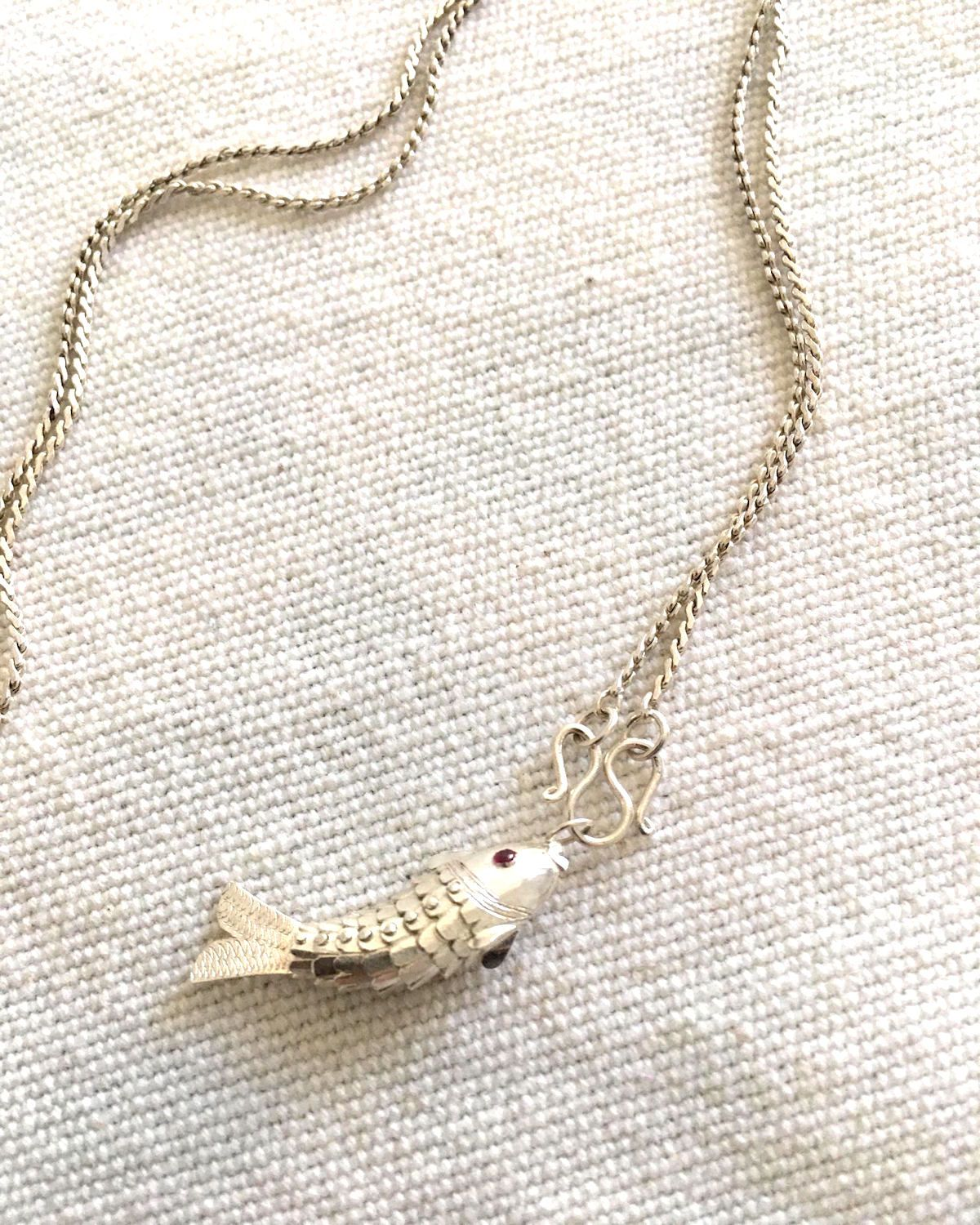 Articulated Silver Fish Pendant and Chain - YGN Collective