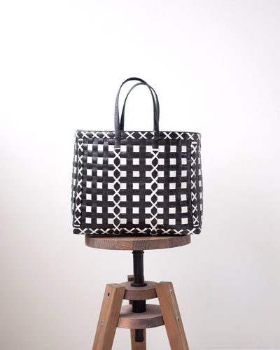 Black Criss-Cross Woven Basket | Shopper Bag - YGN Collective