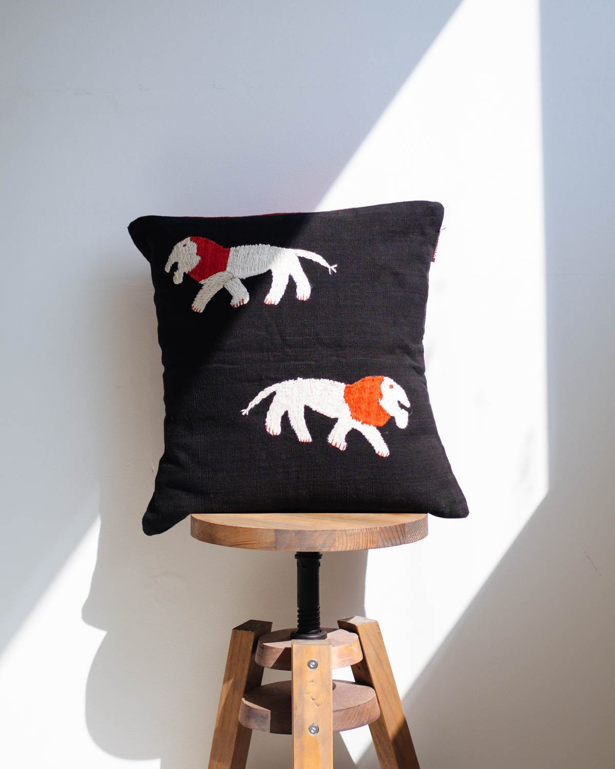 Black Cushion Cover with Embroidered Lions - YGN Collective