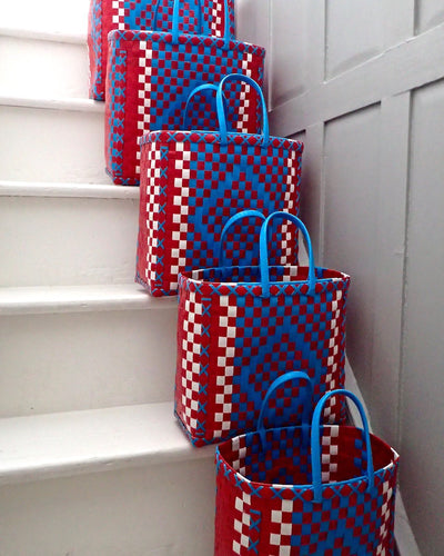Blue and Red Diamond Design Basket - YGN Collective