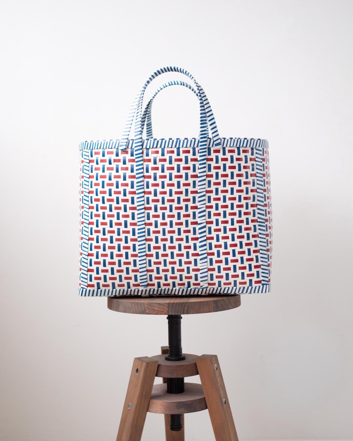 Blue and Red Stripe Woven Basket | Shopper Bag - YGN Collective