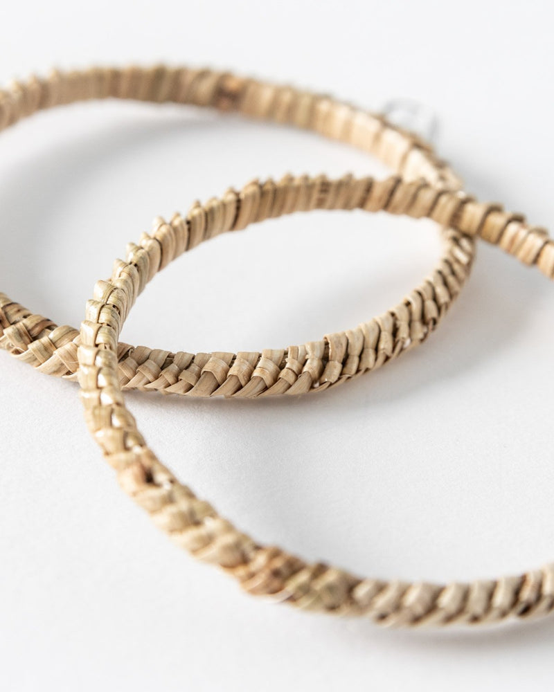 Woven Rattan Hoop Earrings - YGN Collective