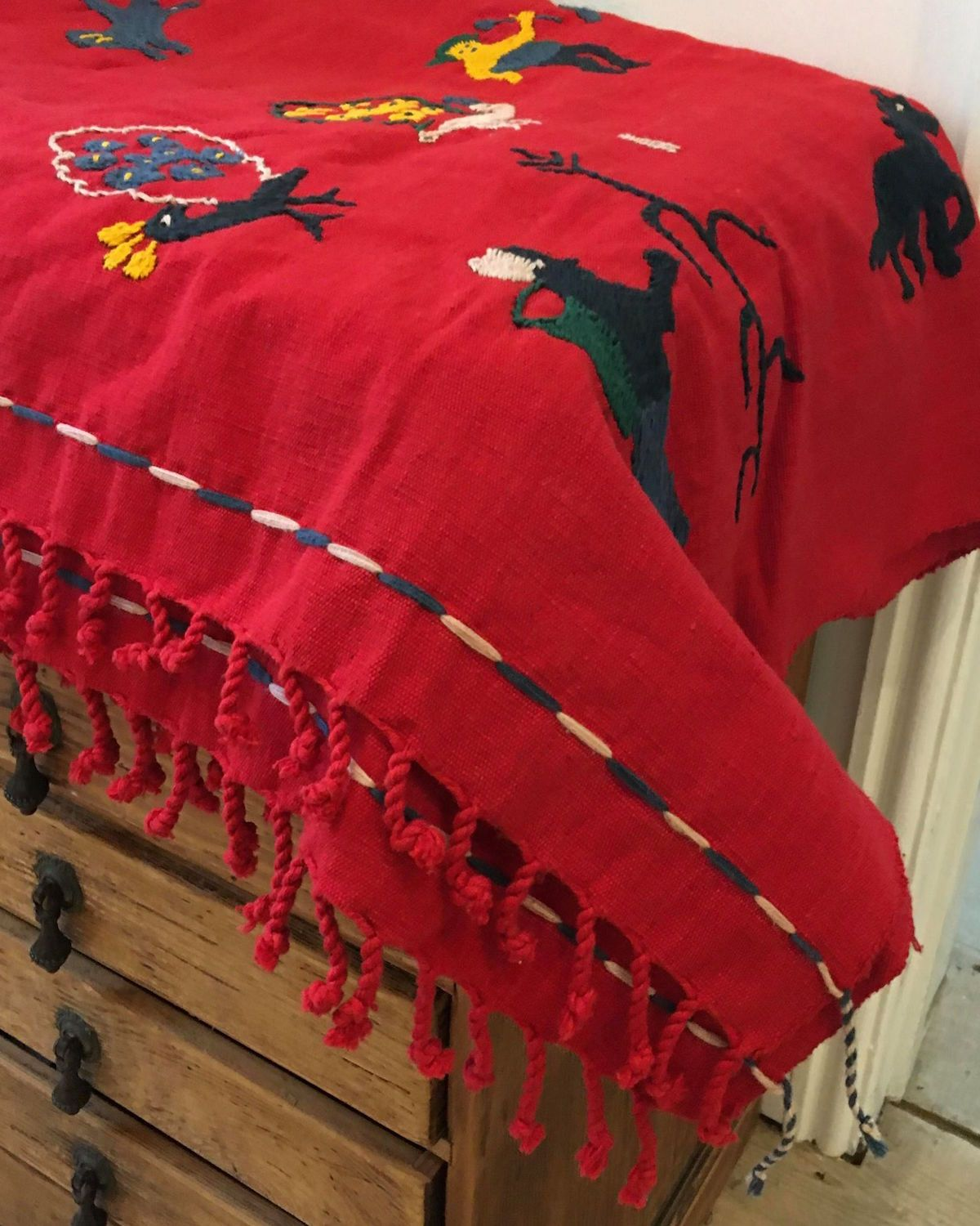Embroidered Blanket Throw, Wall Hanging, Tapestry in Red with Multi-Colour Design - YGN Collective