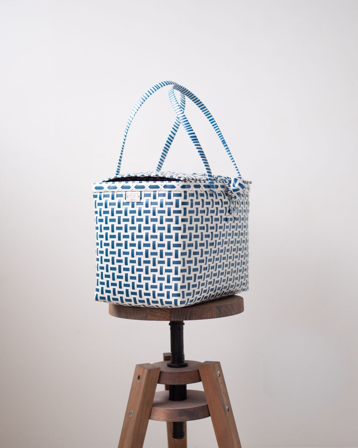 Lidded Picnic Basket with Handles | Blue & White | Ethically Made in Myanmar - YGN Collective