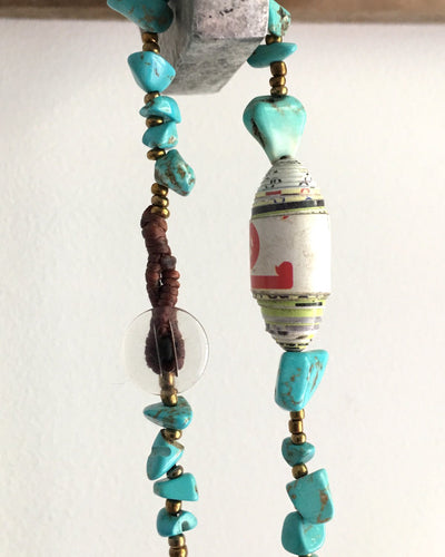 Long Necklace with Paper, Bronze and Turquoise Style Beads - YGN Collective