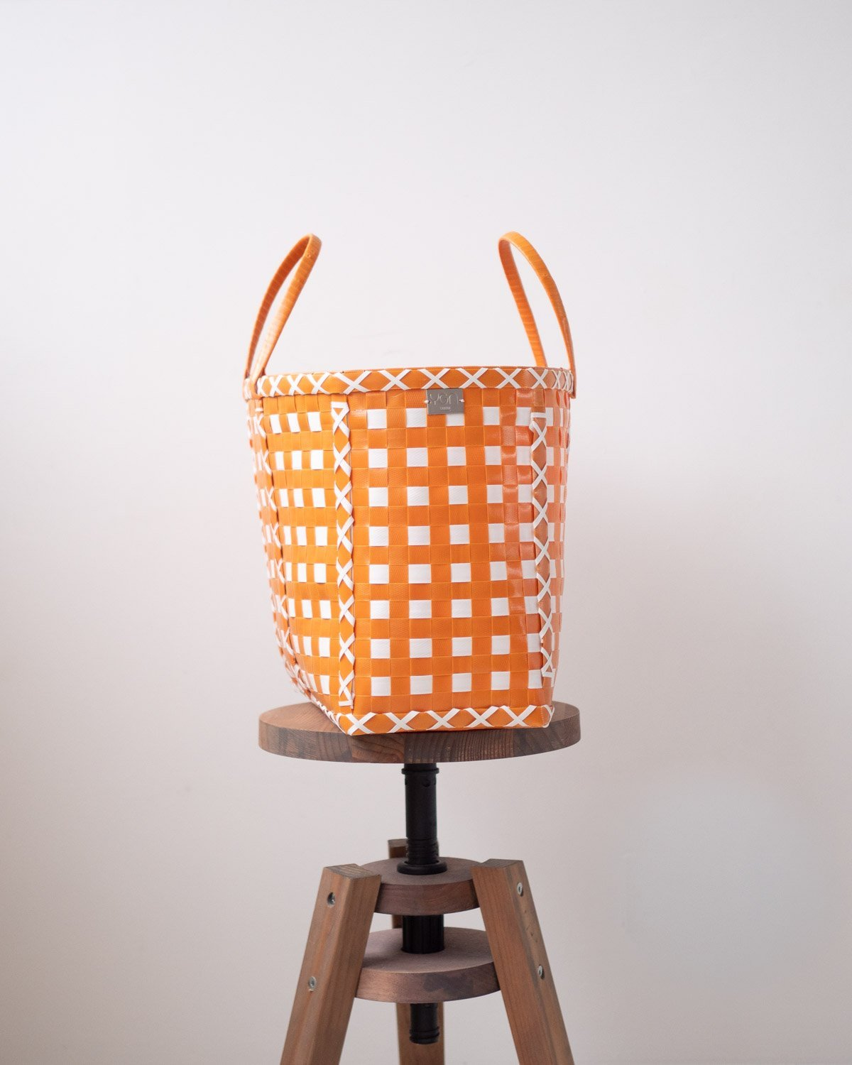 Orange and White Cross Design Basket | Upcycled Shopping Basket - YGN Collective