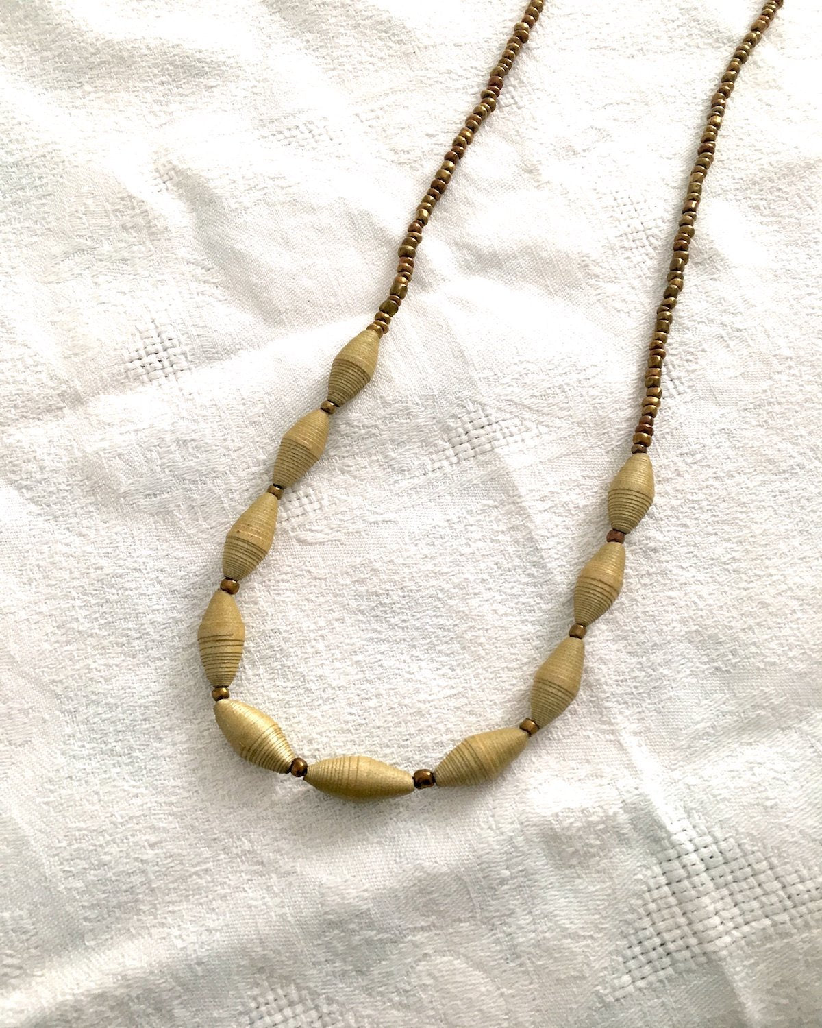 Paper Bead and Small Bronze Bead Necklace - YGN Collective