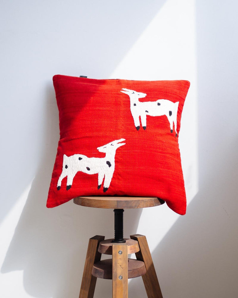 Red Cushion Cover with Embroidered Goats - YGN Collective