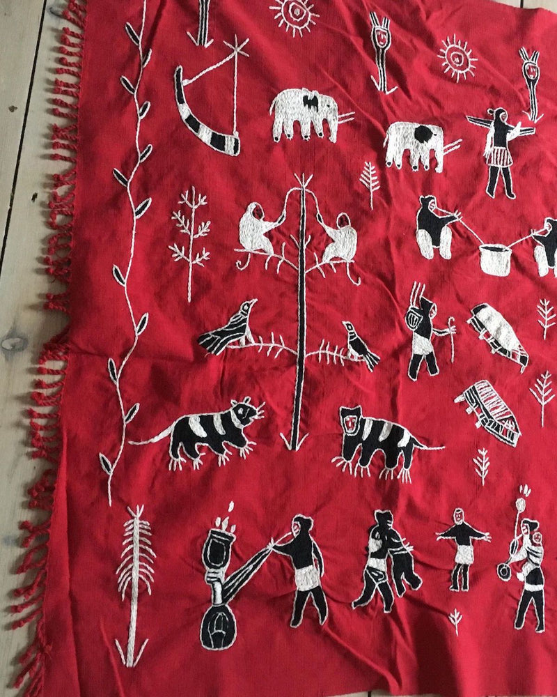 Red Embroidered Throw, Burmese Blanket - YGN Collective