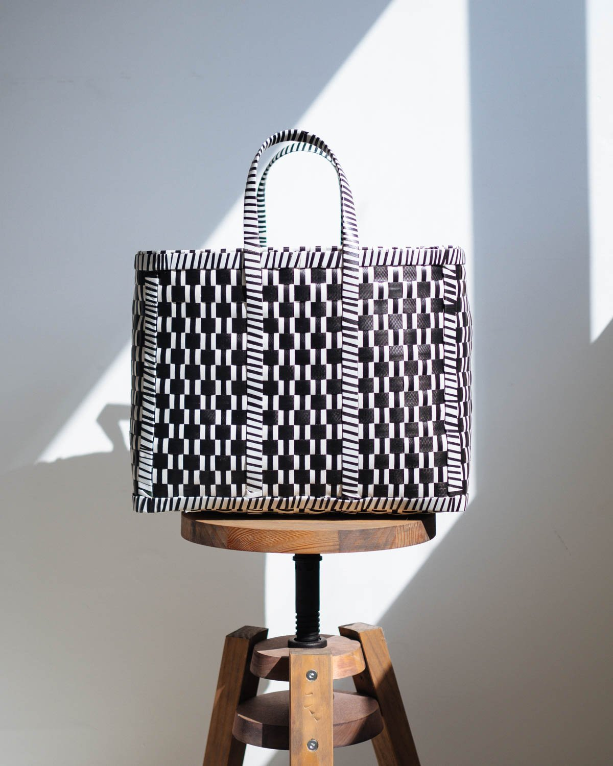 Reverse Black and White Woven Basket - YGN Collective