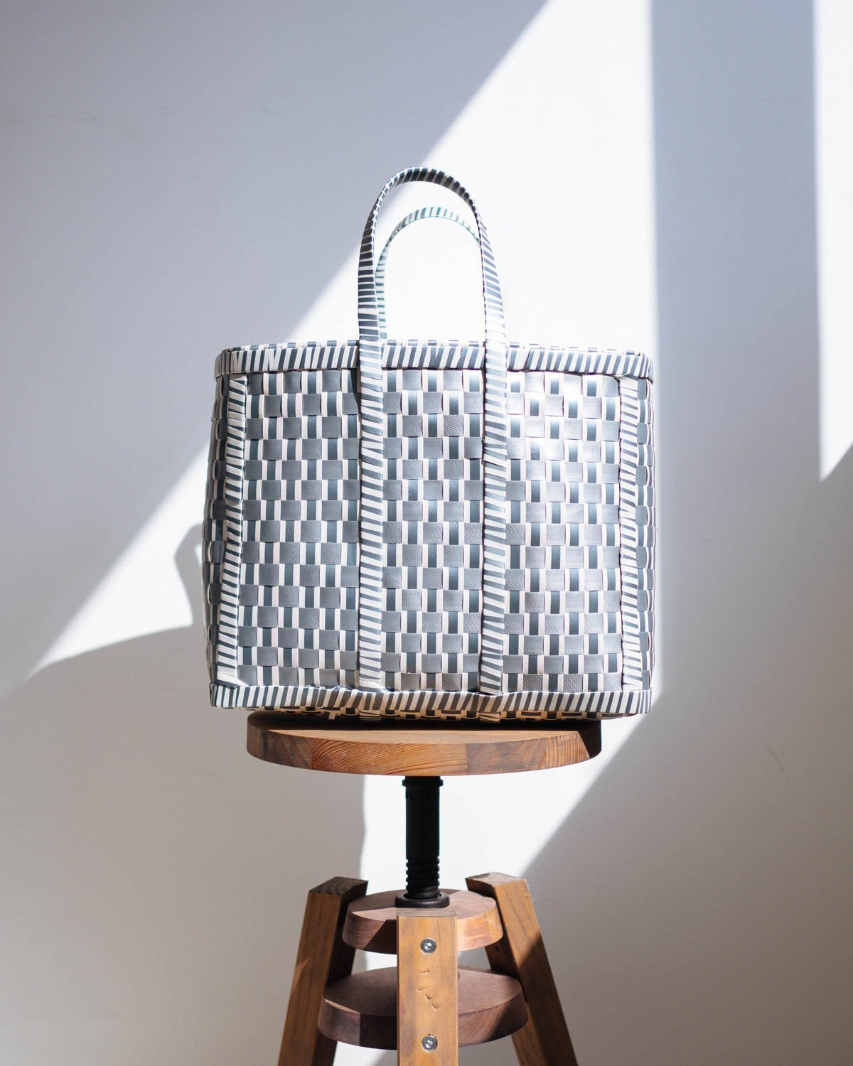 Reverse Grey and White Woven Basket - YGN Collective