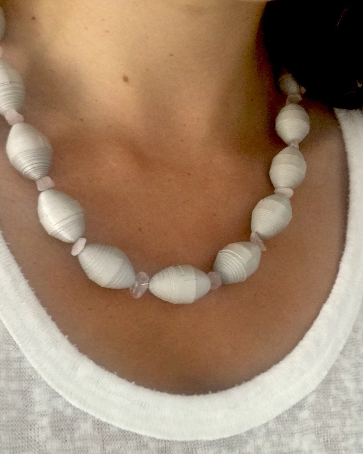 Rose Quartz and Grey Paper Bead Necklace - YGN Collective