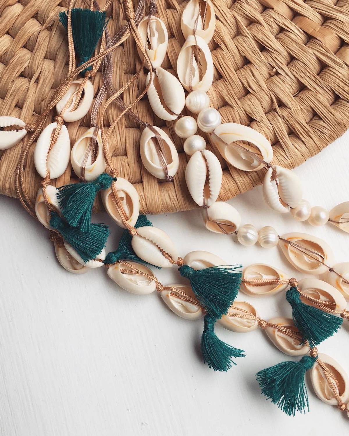 Shell & Blue Tassel Necklace | Free of Metals - YGN Collective