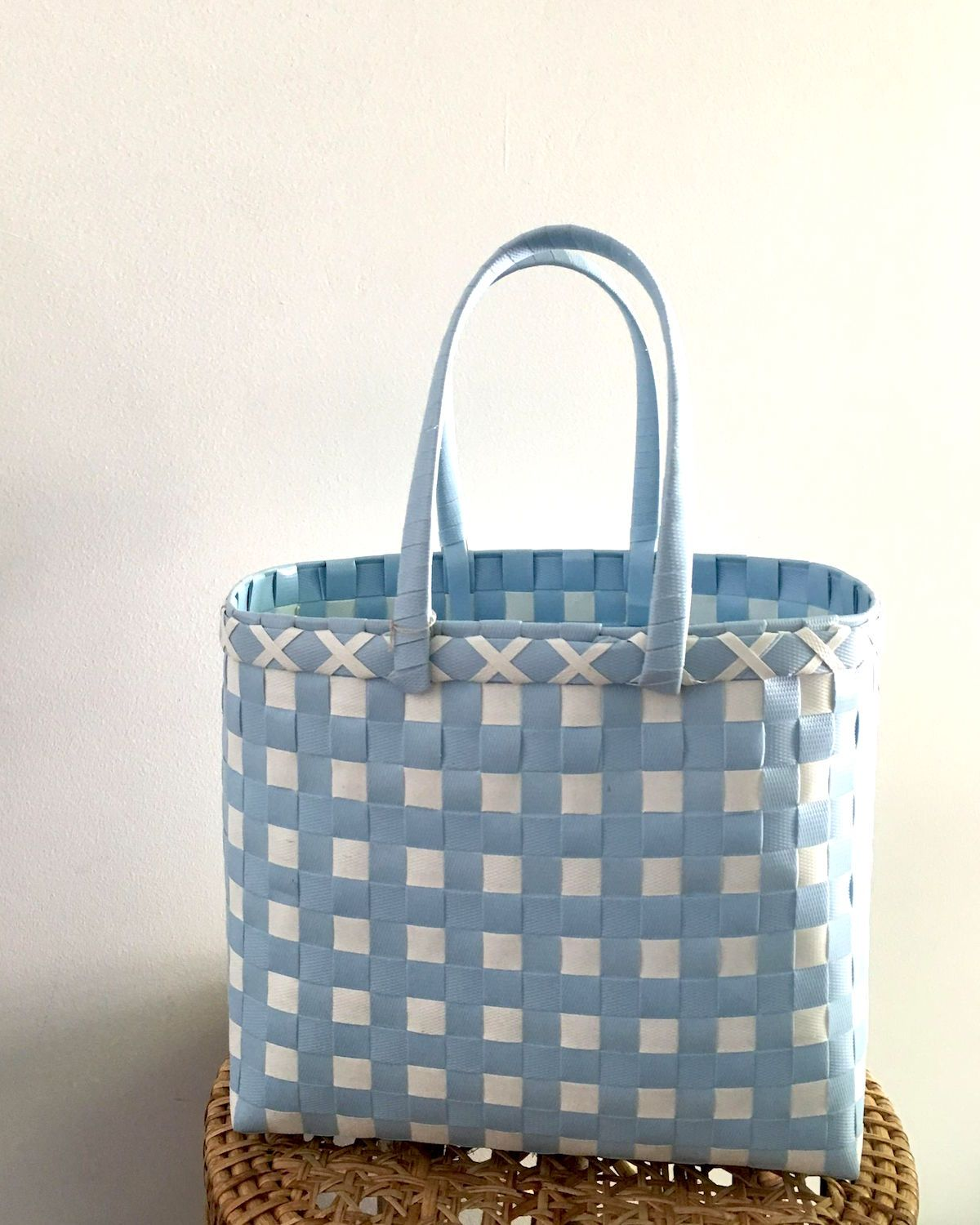 Sky Blue Basket Bag | Limited Edition | Handwoven & Upcycled - YGN Collective