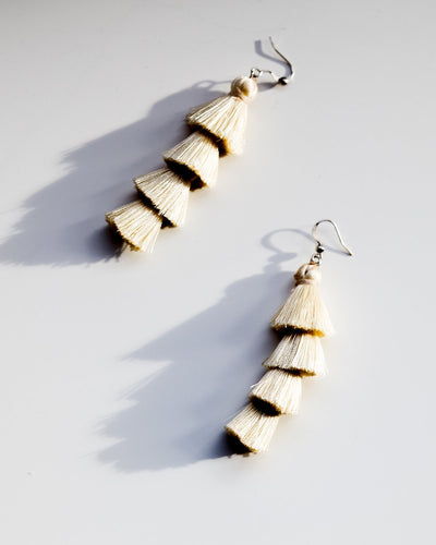 Tiered Tassel Earrings in Off White - YGN Collective