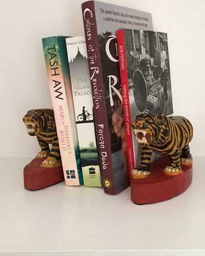 Tiger Bookends - Wooden, Hand Painted and Hand Carved Ornaments - YGN Collective