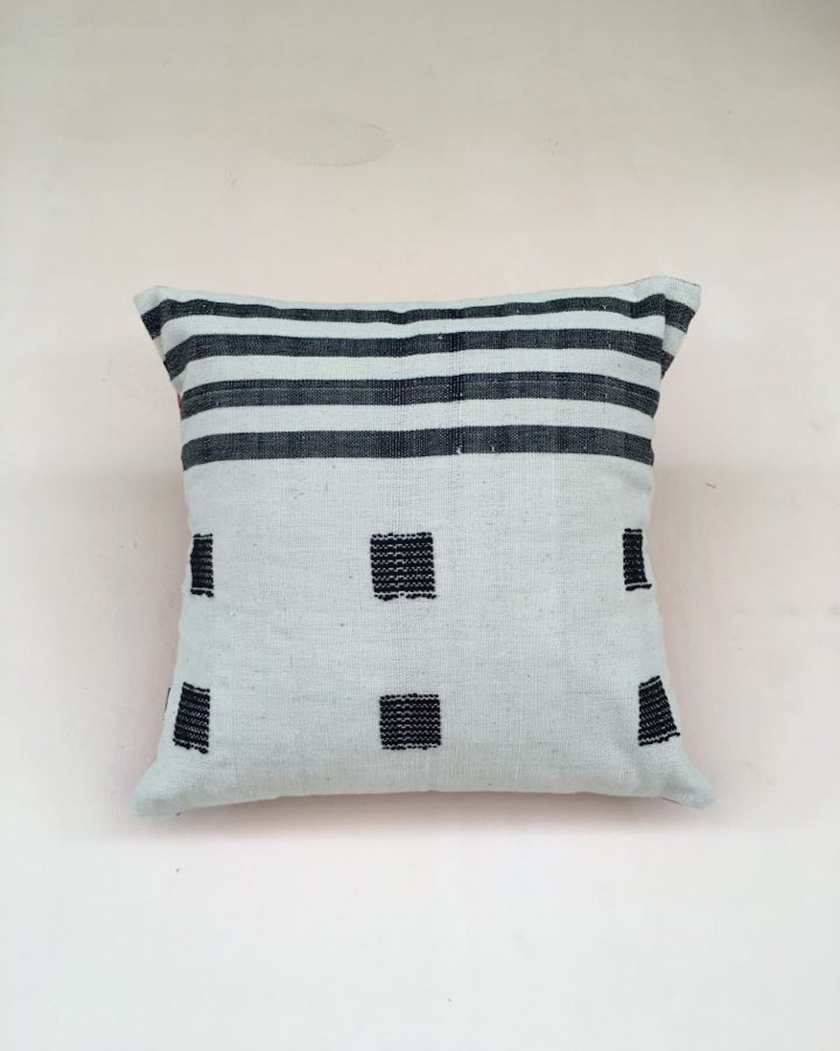 White Abstract Cushion Cover | Myanmar Chin State Textiles - YGN Collective