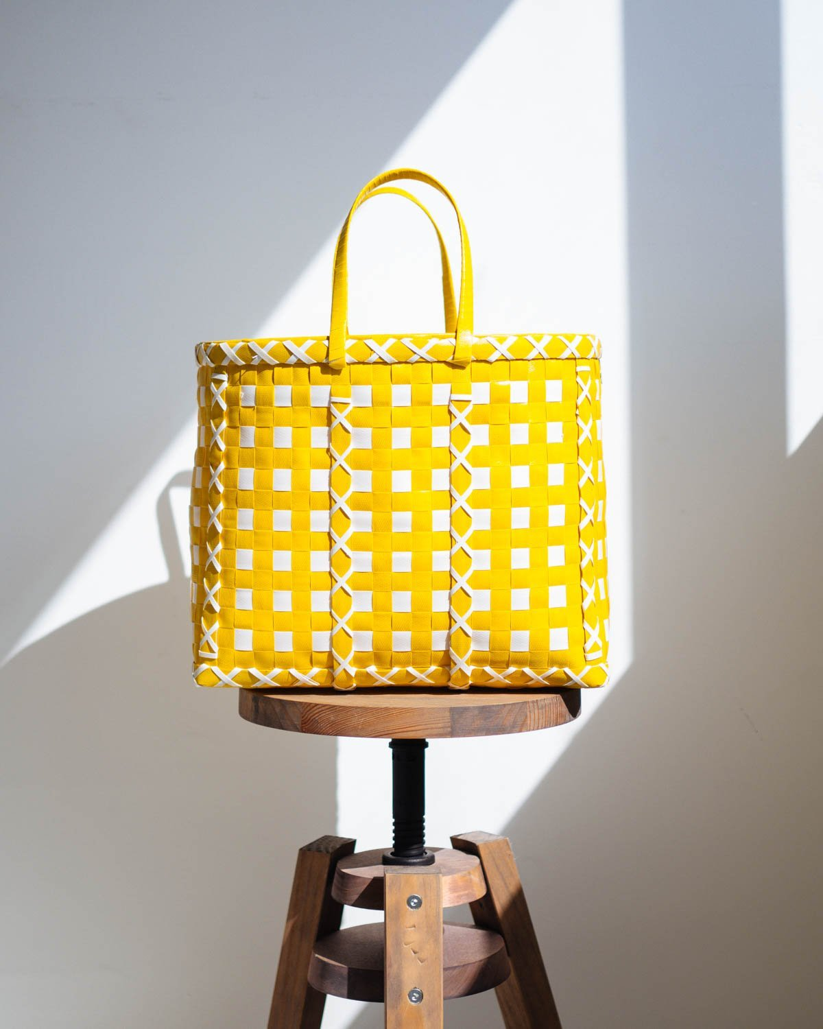 Yellow and White Cross Design Basket - YGN Collective