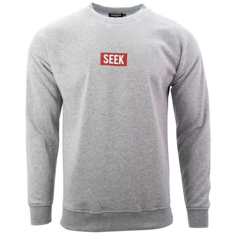 Red Box Logo Crewneck Sweatshirt Grey
