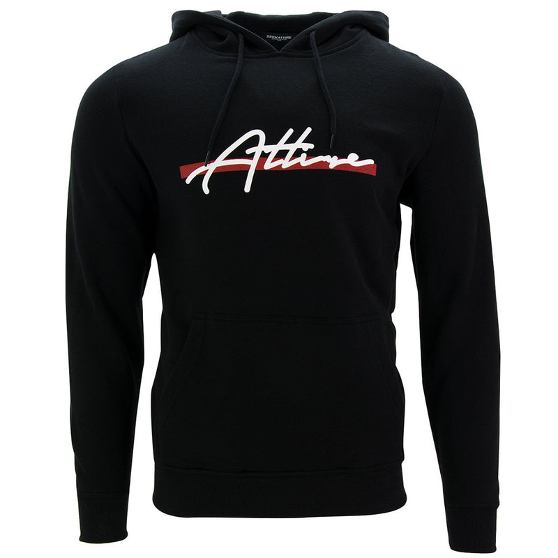 Red Stripe Signature Logo Pullover Hoodie Black