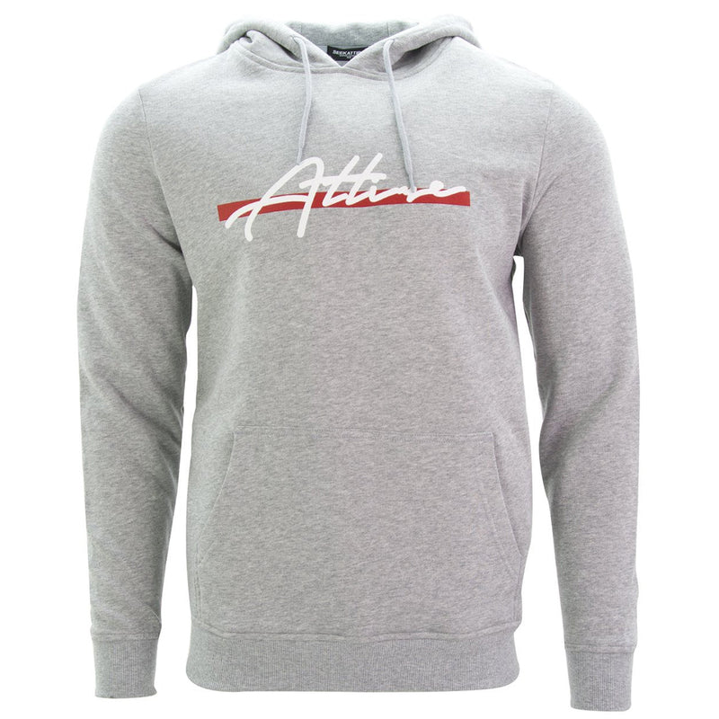 Red Stripe Signature Logo Pullover Hoodie Grey